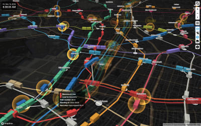 Tokyo's public transportation system visualized on a map