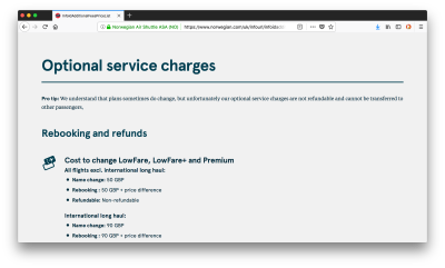 Norwegian's Optional Service charges webpage holds a full list of the charges they make for optional services.