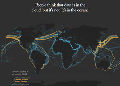 Map of the world showing undersea internet cables in 2021