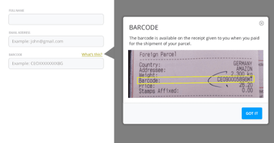 It is not obvious where the user can find the barcode. Concise help text next to the input field would be very useful.
