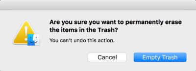 永久删除项目时,此默认确认覆盖显示在macOS中。