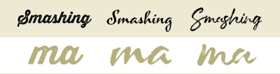 "The word ""Smashing"" typeset in three different fonts that have three different textured looks: a paper texture look, rough edges, and brush strokes."
