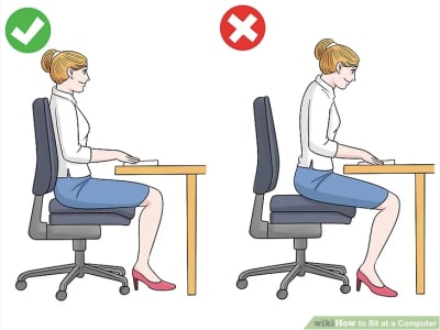 wikiHow graphic - right and wrong postures working at desk