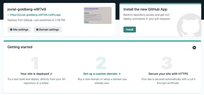 Netlify's initial deployment screen