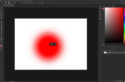 Red circle displaying the brush softness increase via mouse drag
