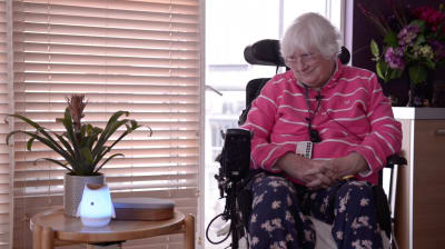 Susan's voice assistant gives her back some of the independence she lost to her condition, from empowering her to making a phone call to family, or simply listening to music.