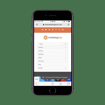 Marketing Nutz mobile navigation