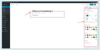 Options de l'éditeur de texte Gutenberg