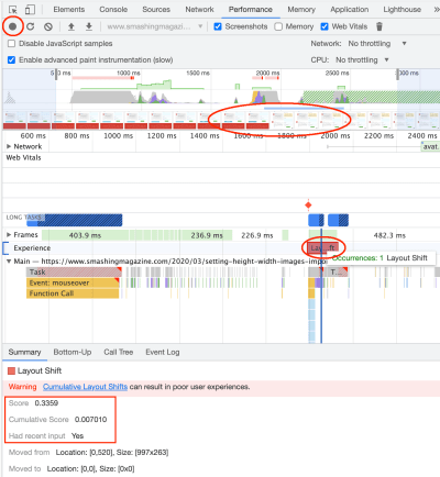 Screenshot of Chrome Dev Tools with a shift selected and the Summary of this shows that it had recent input and so the shift is not included in the Cumulative Score.