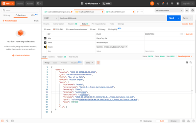 Testing Adding new music API using Postman