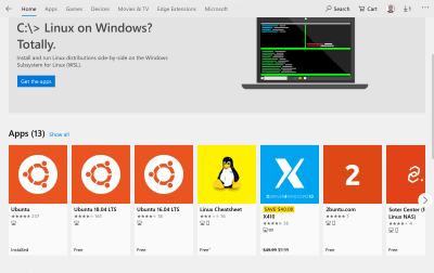 "The ""Ubuntu"" item in the Windows Store"
