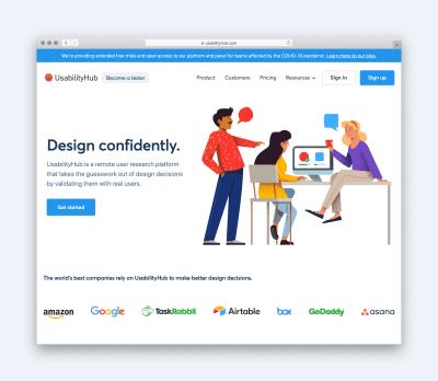 Page d'accueil de Hub d'utilisation