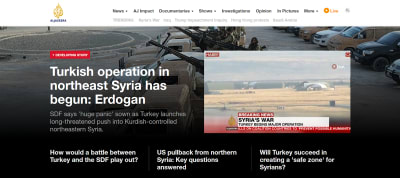 Al Jazeera website homepage - English