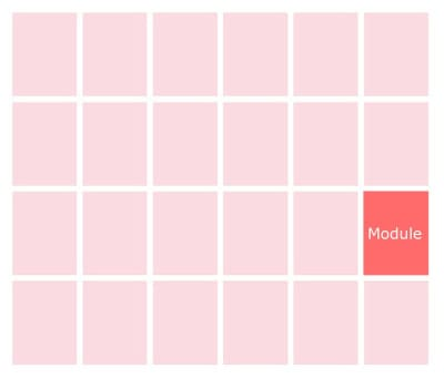 Modules are units created from the intersection of rows and columns.