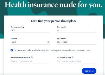 "HiOscar's Personalized Plan form. Header: Health insurance made for you. One field title is ""Household annual income"" and the help text is ""Enter your income pre-tax."" Another field title is ""Tax household size"" and the help text is ""Enter your tax household size."