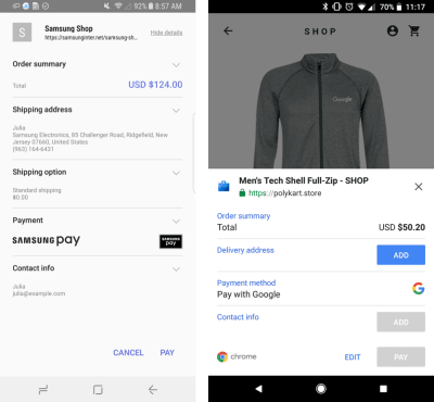Examples of Payment Request supporting Samsung Pay and Pay with Google
