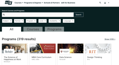 edX search page