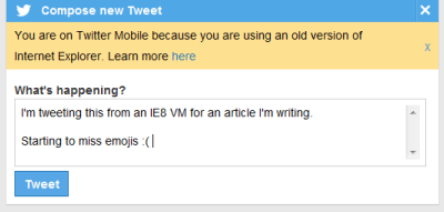 Screenshot of me writing a tweet, lamenting about the lack of emojis in the IE8 twitter view