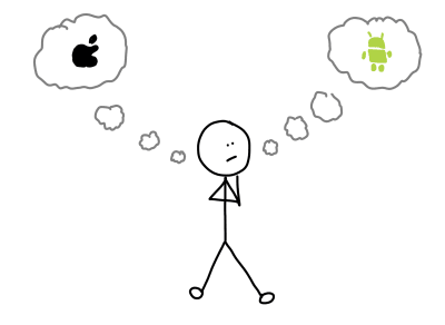 Drawing of stick figure wondering if they should develop for iOS or Android