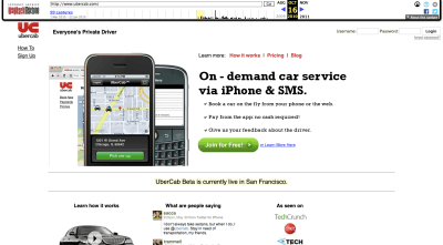 UberCab website in 2010
