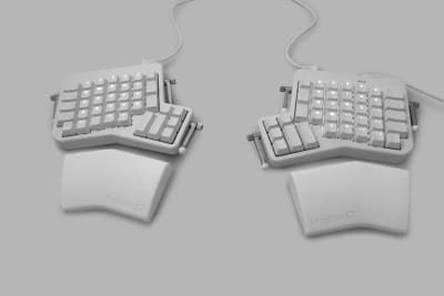 The ErgoDox EZ is a keyboard split in two halves for improved ergonomics