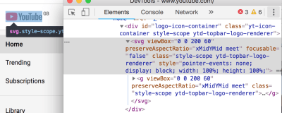 Screenshot of Chrome DevTools inspecting YouTube logo