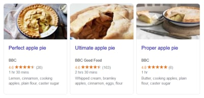 Recipe snippets using structured data markup on Google Search