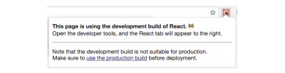 "React Developer Tools' ""production build"" warning"