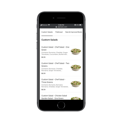 Uber Eats sticky menu