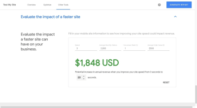Test My Site revenue impact calculator