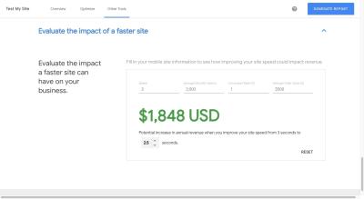 Test My Site revenue impact calculator