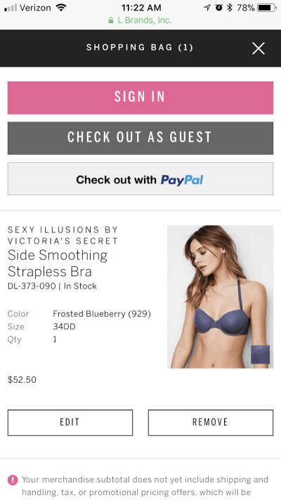Victoria's Secret express checkout options