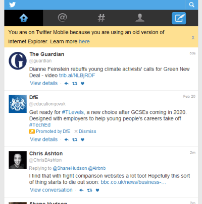 Screenshot of Twitter feed