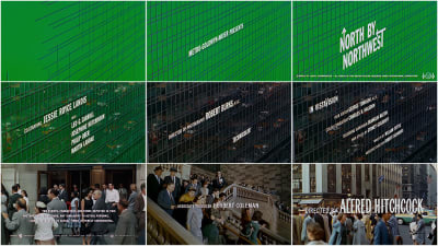Collection of stills from the 'North by Northwest' opening title sequence