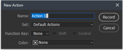 New Action window displayed with text highlighted
