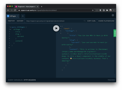 A GraphQL query and result displayed in the GraphQL Playground.