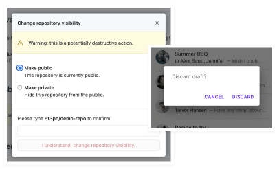 Example modals from GitHub and Material Design
