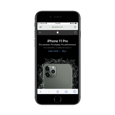 Apple home page promo for iPhone 11 Pro