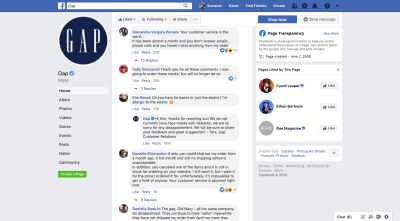 Gap backlash on Facebook during COVID-19