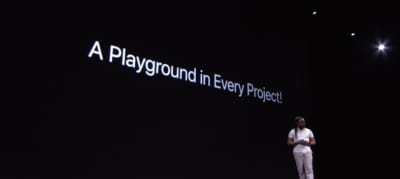 WWDC photo showing slide to encourage more Playgrounds