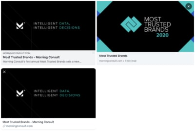 Three views of the Morning Consult report when shared on Facebook (top-left), LinkedIn (top-right) and Twitter (bottom-left)