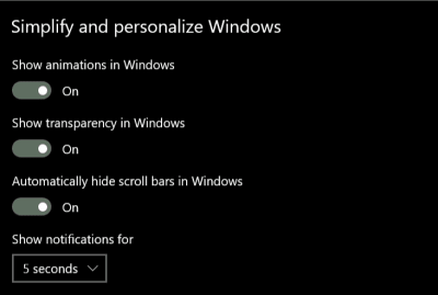 Screenshot of the Windows Simplify and Personalize Windows menu