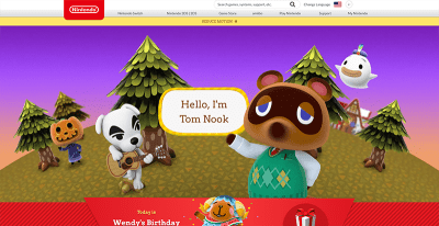 The Animal Crossing site with Tom Nook, a main character in the game, front and center.
