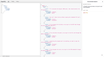 A screenshot of a basic query made with GraphiQL