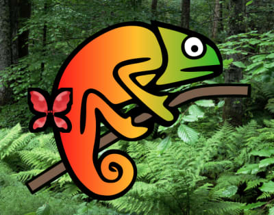 In light mode + reduced motion, Karma Chameleon is in a forest with a stationary red butterfly. In both environments, her colors and eyes are also stationary, as the original SVG animation is completely removed.