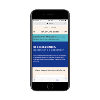 Financial Times PWA subscription