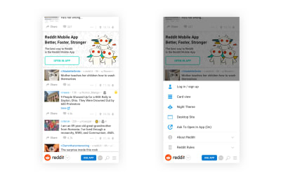 The <a href='https://www.reddit.com/'>Reddit website</a> with a reimagined bottom navigation