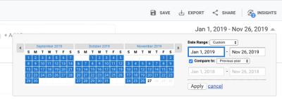 Google Analytics date range comparison