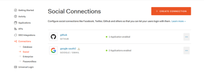 Social Connections settings