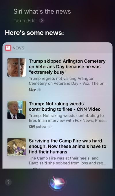 Siri executes a voice command to search for news, but then requires users to touch the screen in order to read the items.